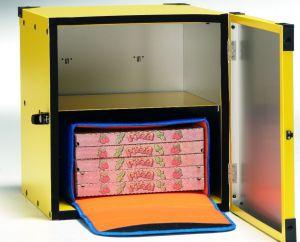 BP40R Caja para pizza sin aislamiento, estante central para 2 bolsas térmicas ø 40