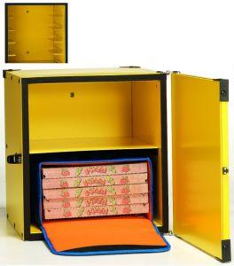 BP45CR Caja para pizza aislada 2 bolsas térmicas ø 45 u 8 cajas de ø 50 cm