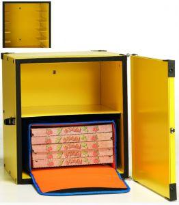 BP50CR Caja para pizza aislada con balda para 2 bolsas térmicas ø 50 cm