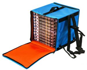 BTZ4040 Mochila térmica rígida para 7 cajas de pizza ø 40 cm zip