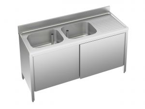 EU01711-19 lavatoio armadio ECO cm 190x70x85h  2 vasche e sg dx - porte scorrevoli
