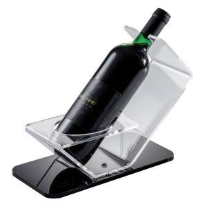 EV00208 SINGLE - Expositor para vinos con base negra, diámetro de botella 8,2 cm