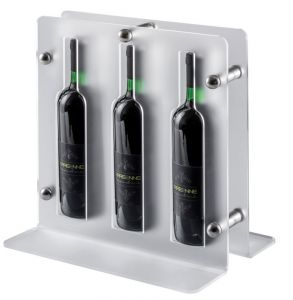 EV02201 TRIO - Expositor satinado para vino para botellas ø 7,5 cm