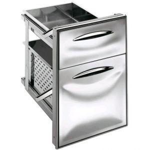 ICCS23 50GS Cajón de acero inoxidable 2/3 guía simple Esquinas redondeadas Profundidad del cajón 55,6 cm