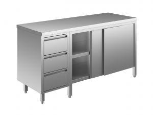 EU04002-20 tavolo armadio ECO cm 200x60x85h  piano liscio - porte scorr - cass 3c sx