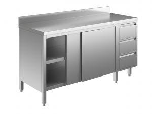 EU04003-15 tavolo armadio ECO cm 150x60x85h  piano alzatina - porte scorr - cass 3c dx