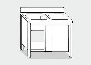 LT1038 Lavatoio su Armadio in acciaio inox 2 vasche alzatina 130x70x85
