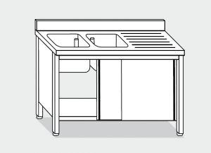 LT1042 Lavatoio su Armadio in acciaio inox 2 vasche 1 sgocciolatoio dx alzatina 180x70x85