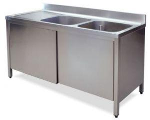 LT1047 Lavatoio su Armadio in acciaio inox 2 vasche 1 sgocciolatoio sx alzatina 180x70x85