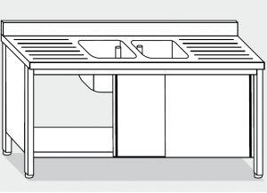 LT1051 Lavatoio su Armadio in acciaio inox 2 vasche 2 sgocciolatoi alzatina 200x70x85