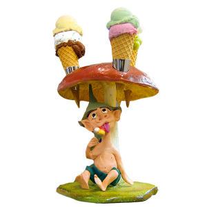 EG021 Porta conos de helado hongo con elfo alto 40 cm
