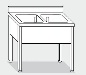 LT1068 Lavatoio su Gambe in acciaio inox 2 vasche alzatina 120x60x85