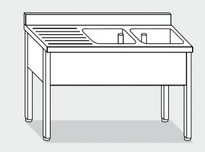 LT1109 Lavatoio su Gambe in acciaio inox 2 vasche 1 sgocciolatoio sx alzatina 180x70x85