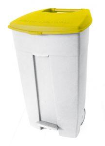 T102536 Mobile plastic pedal bin White - yellow 120 liters