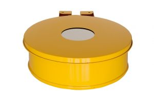 T601014 Bag holder with lid with hole Yellow steel