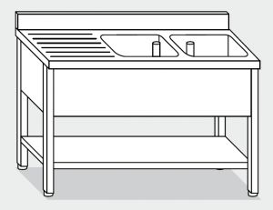 LT1140 Wash legs with stainless steel shelf