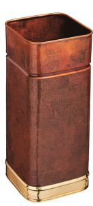 T700107 Porte-parapluie carré en cuivre brûlé avec bords en laiton