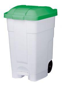 T102548 Mobile plastic pedal bin White Green 70 liters