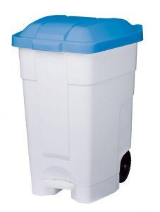 T102545 Contenitore mobile a pedale plastica bianco-blu 70 litri