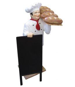 ER005B Cocinero con plato con pan en tres dimensiones alto 140 cm