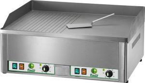 FRY2LR Fry top elettrico da banco trifase 6000W doppio piano liscio/rigato acciaio