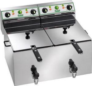 FR88R Friteuse electrique cuve double 8+8 liters avec robinets