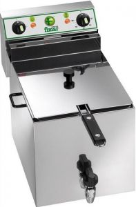 FR10R Friteuse electrique cuve 10 liters avec robinet triphasé 6KW