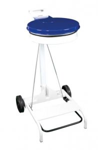 T601045 White steel Wheeled pedal operated sack holder Blue lid