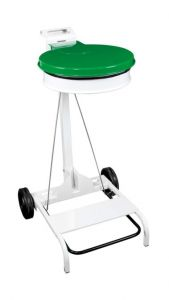 T601048 White steel Wheeled pedal operated sack holder Green lid