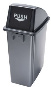 T114210 Waste bin with grey push opening lid