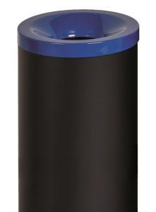 T770015 Papelera antifuego metal negro tapa Azul 50 litros