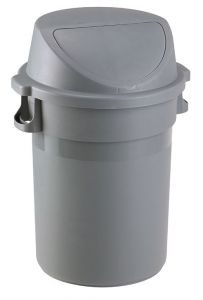T114125 Push waste bin Grey plastic 80 liters