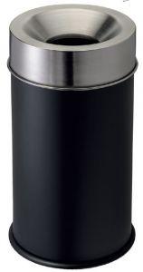 T770052 Gettacarte antifuoco corpo metallo nero testa inox 90 litri