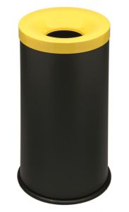 T770016 Papelera antifuego metal negro tapa Amarilla 50 litros