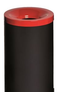 T770017 Papelera antifuego metal negro tapa Roja 50 litros