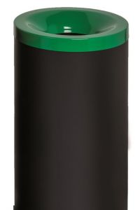 T770018 Papelera antifuego metal negro tapa Verde 50 litros