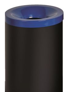 T770025 Fireproof paper bin Black steel with blue colored lid 90 liters