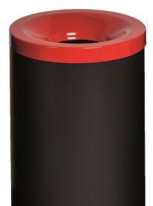 T770027 Papelera antifuego metal negro tapa Roja 90 litros