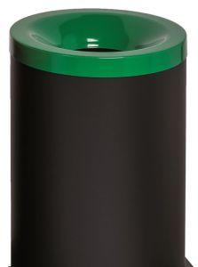 T770028 Papelera antifuego metal negro tapa Verde 90 litros