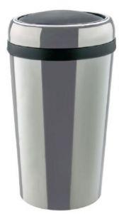 T109777 Papelera cilindrica de acero inox con tapa basculante ABS 50 litros