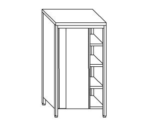 AN6002 neutral stainless steel cabinet with sliding doors