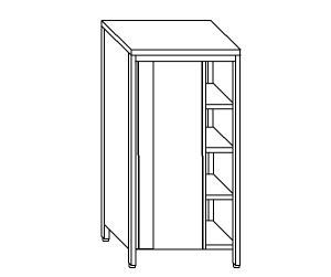 AN6010 neutral stainless steel cabinet with sliding doors