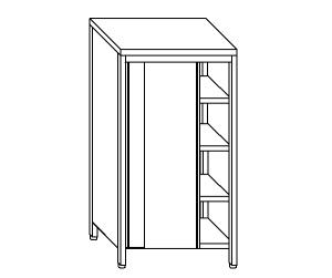 AN6014 neutral stainless steel cabinet with sliding doors