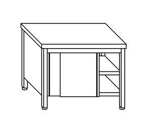 TA4013 Tavolo armadio in acciaio inox con porte su un lato 200x60x85