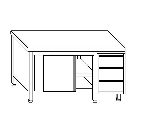 Tavolo armadio in acciaio inox aisi 304 con porte su un lato e cassettiera DX de