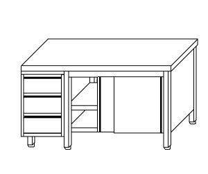 TA4027 armoire avec des portes en acier inoxydable d'un côté et les tiroirs SX