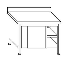 TA4046 Tavolo armadio in acciaio inox con porte su un lato con alzatina 180x60x85