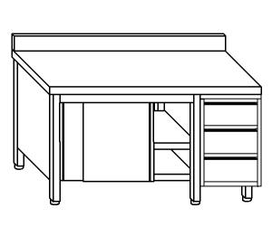 TA4052 Tavolo armadio in acciaio inox con porte su un lato, alzatina e cassettiera DX 170x60x85