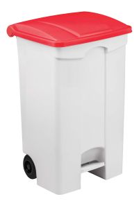 T115597 Contenitore mobile a pedale in plastica bianco coperchio rosso 90 litri