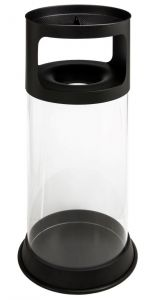 T774091 Basurero transparente ignífugo antifuego con cenicero con arena 80 litros